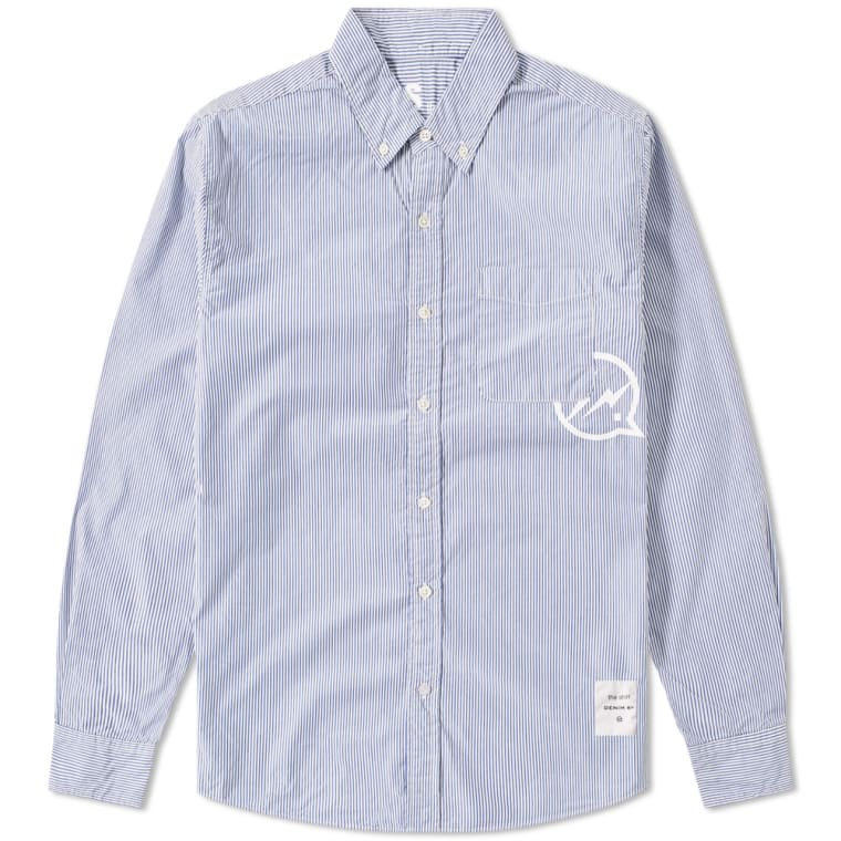 ed4cfbf39869 Denim by Vanquish & Fragment Button Down Broadcloth Shirt Blue & White  Stripe ...