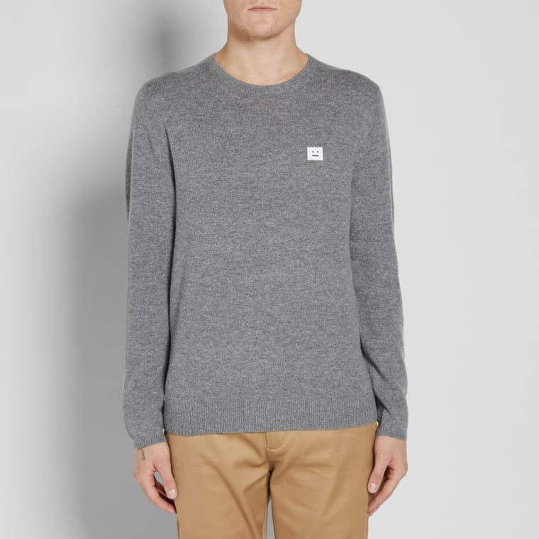 brand new 68cfd c6107 Acne Studios Dasher Face Crew Knit Grey Melange 6