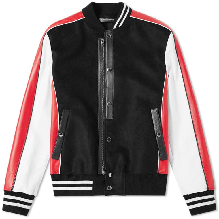 Alexander Mcqueen Leather Sleeve Varsity Jacket Black Red White