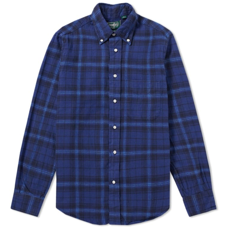 Gitman Vintage Plaid Flannel Shirt Blue Amp Navy End
