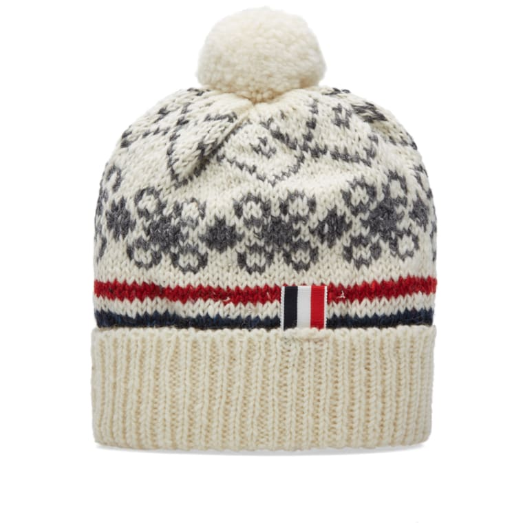Thom Browne Fair Isle Pom Pom Hat (Winter White) | END.