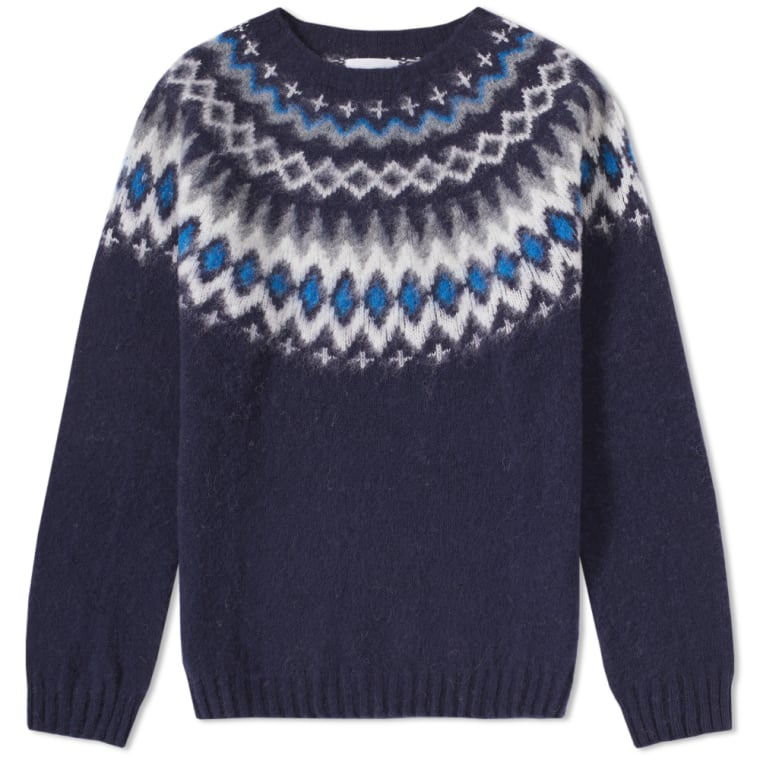 Norse Projects Birnir Fair Isle Crew Knit (Navy) | END.