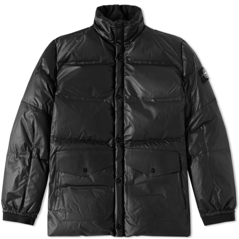 Stone Island Leather Down Jacket (Black) | END.