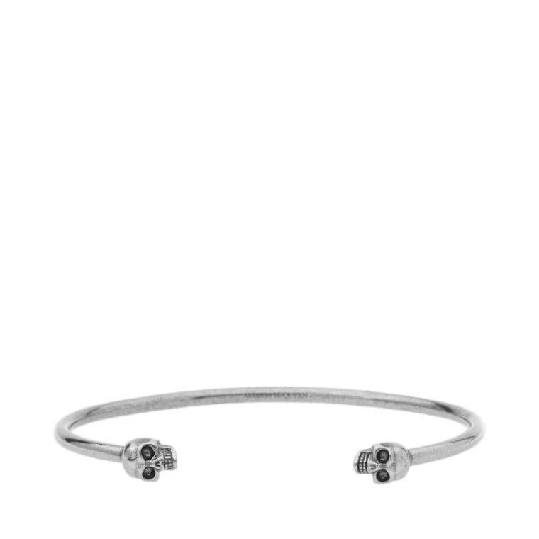 Alexander Mcqueen Thin Twin Skull Bracelet Silver 1