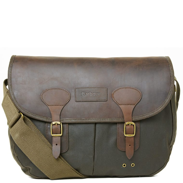 Barbour Wax Leather Tarras Bag Olive 5