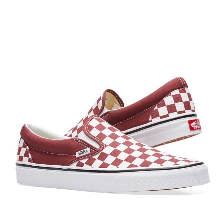 c09a02224dac Vans Classic Slip On Checkerboard (Apple Butter   True White)