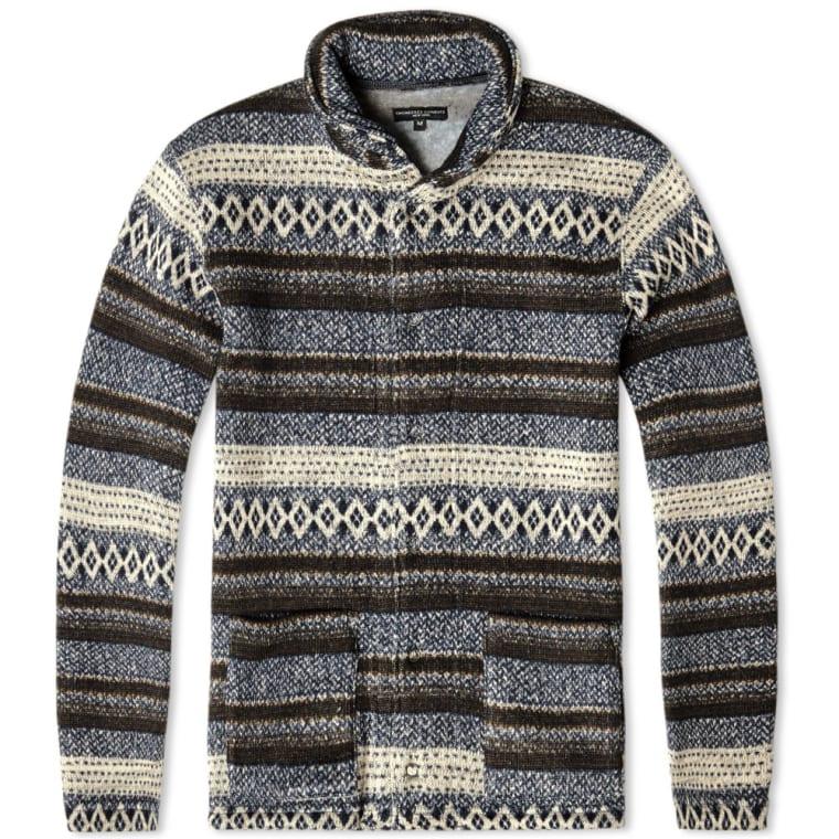Engineered Garments Shawl Collar Knit (Navy Fair Isle Fleece) | END.