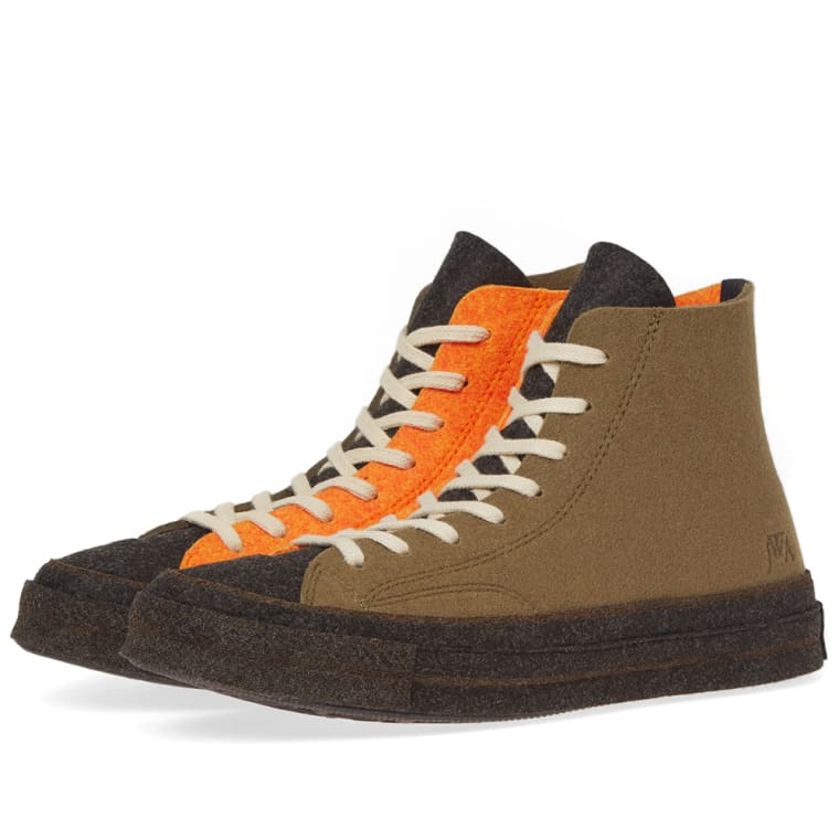 7c4d32622db2 ... sale converse x jw anderson felt chuck taylor 70s hi stone grey flame  orange 1 f5ec9