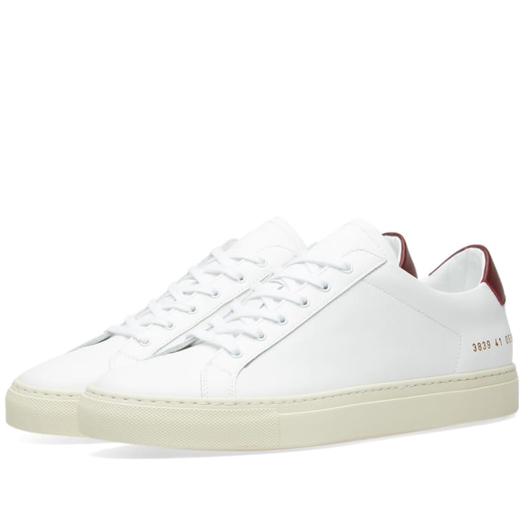 Common Projects White & Burgundy Achilles Retro Low Sneakers