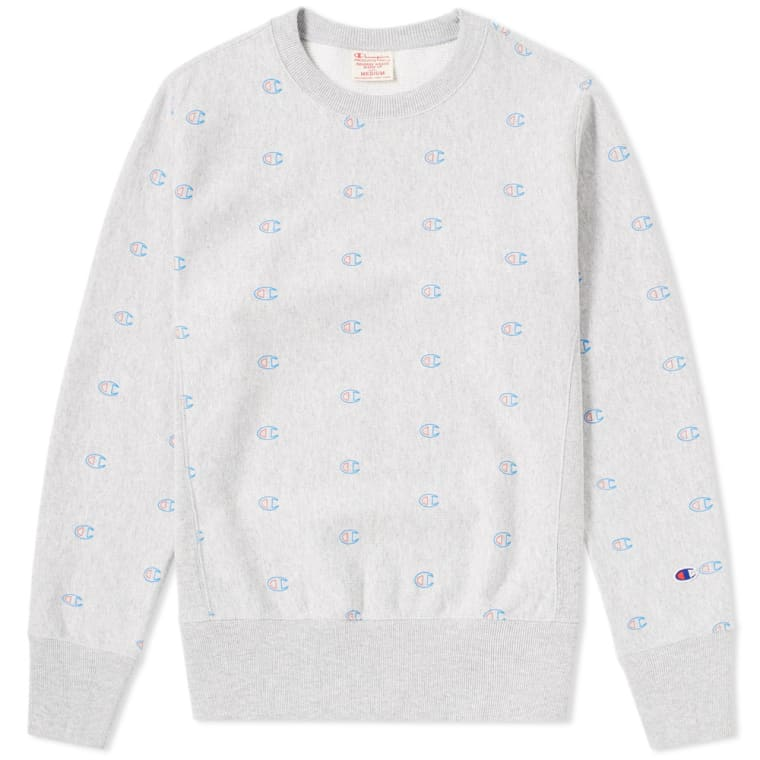 d2cad8f2a71c Champion Reverse Weave All Over Logo Crew Sweat (Grey Marl)