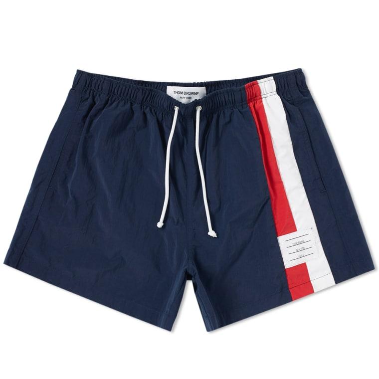 65a544db48440 Thom Browne Side Stripe Swim Short (Navy) | END.