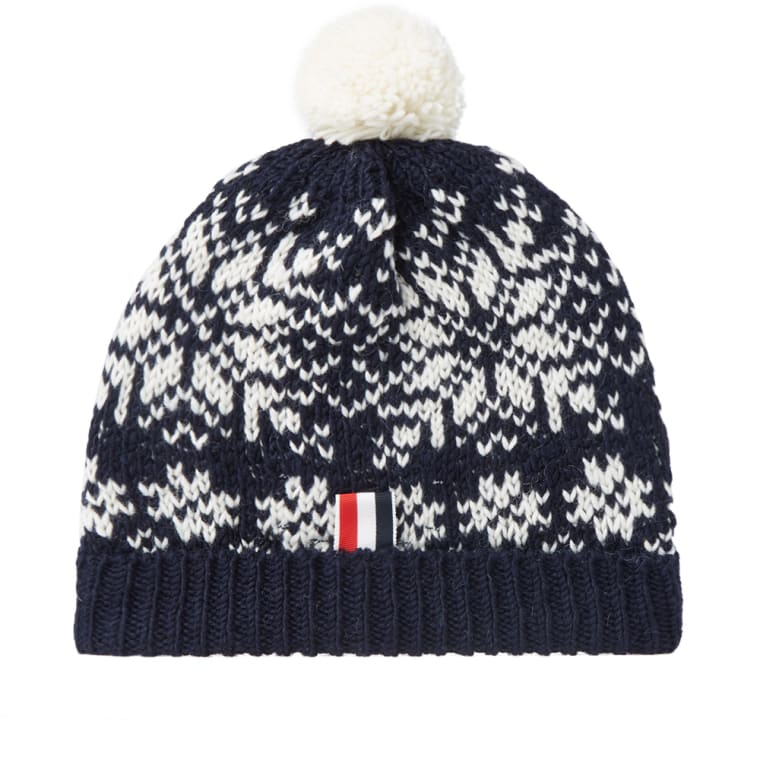 Thom Browne Snowflake Fair Isle Pom-Pom Hat (Navy) | END.