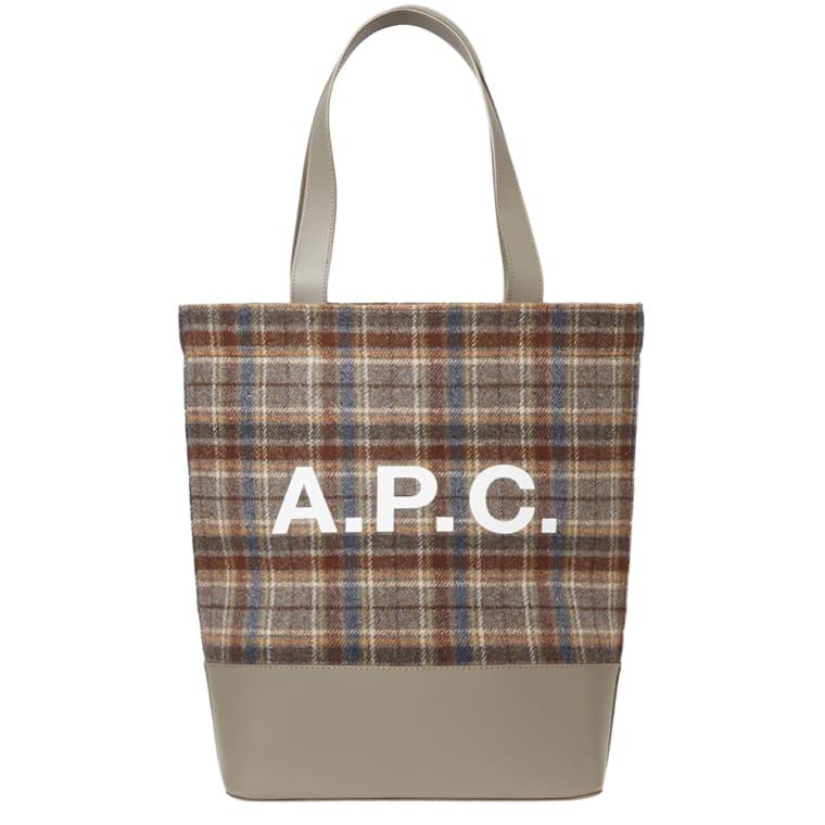 A P C Axel Check Tote Bag Grey 1