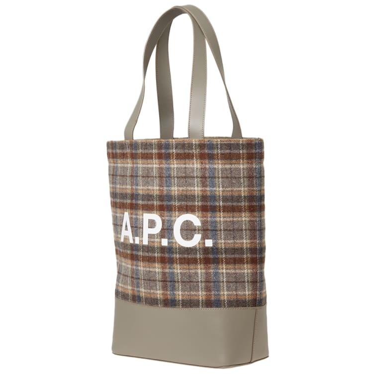 A P C Axel Check Tote Bag Grey 2