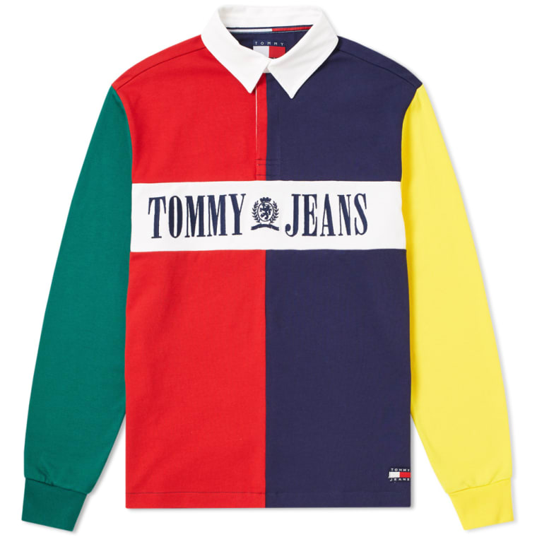 Tommy Jeans 90s Colour Block Rugby Shirt Salsa Amp Multi