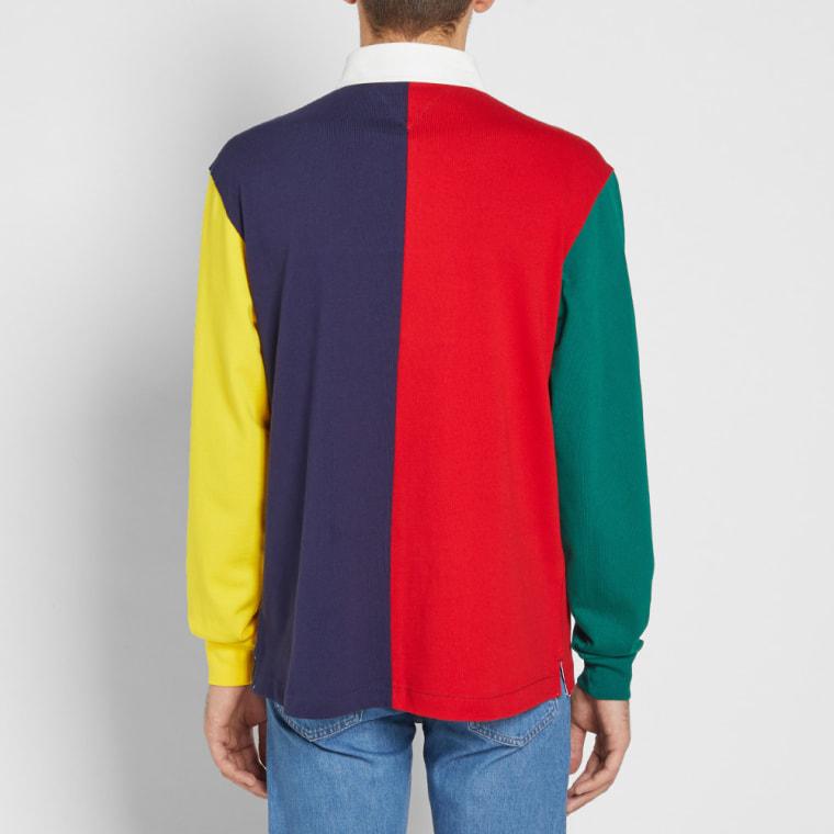 tommy jeans 90s colour block rugby shirt salsa multi end. Black Bedroom Furniture Sets. Home Design Ideas