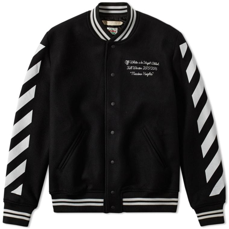 off white letterman jacket black white end. Black Bedroom Furniture Sets. Home Design Ideas
