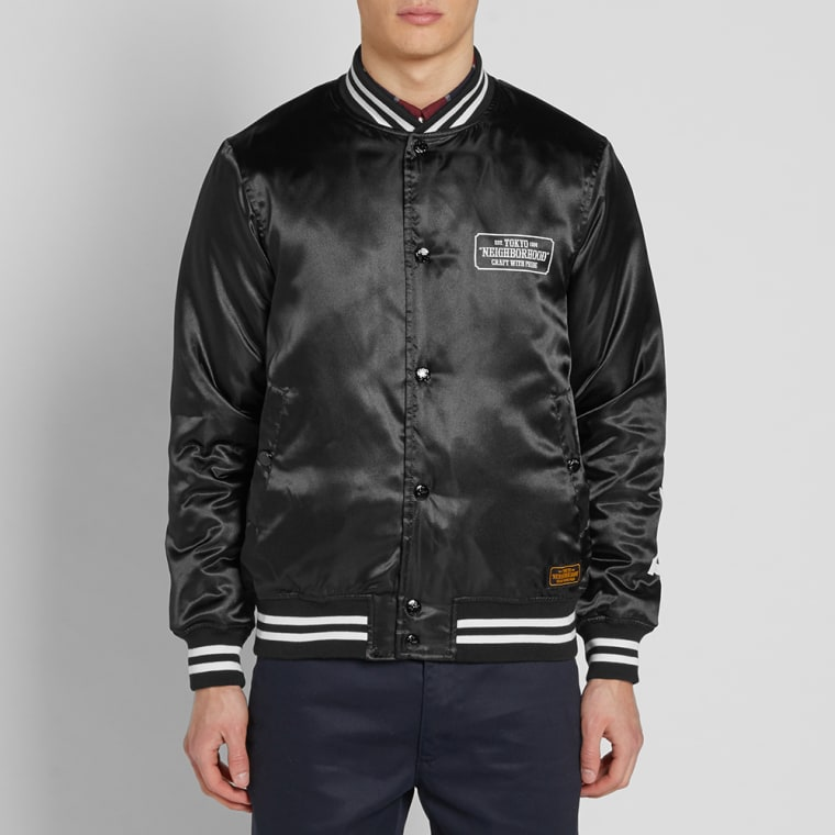 Neighborhood Baseball Jacket  Black