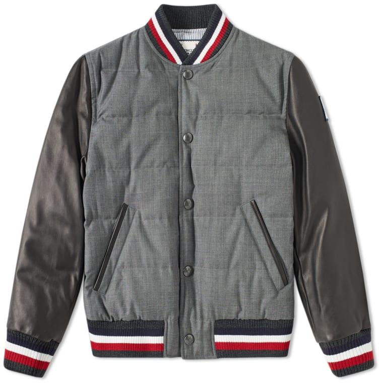 Moncler Gamme Bleu Quilted Varsity Jacket Light Grey End