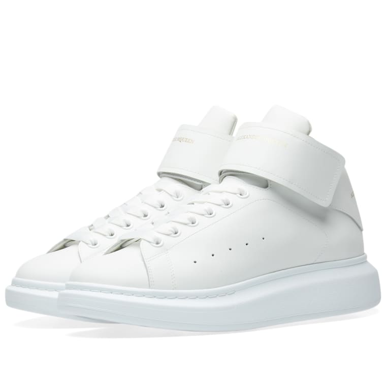 Alexander McQueen Wedge Sole Strap High Sneaker (White)  7279d07a1