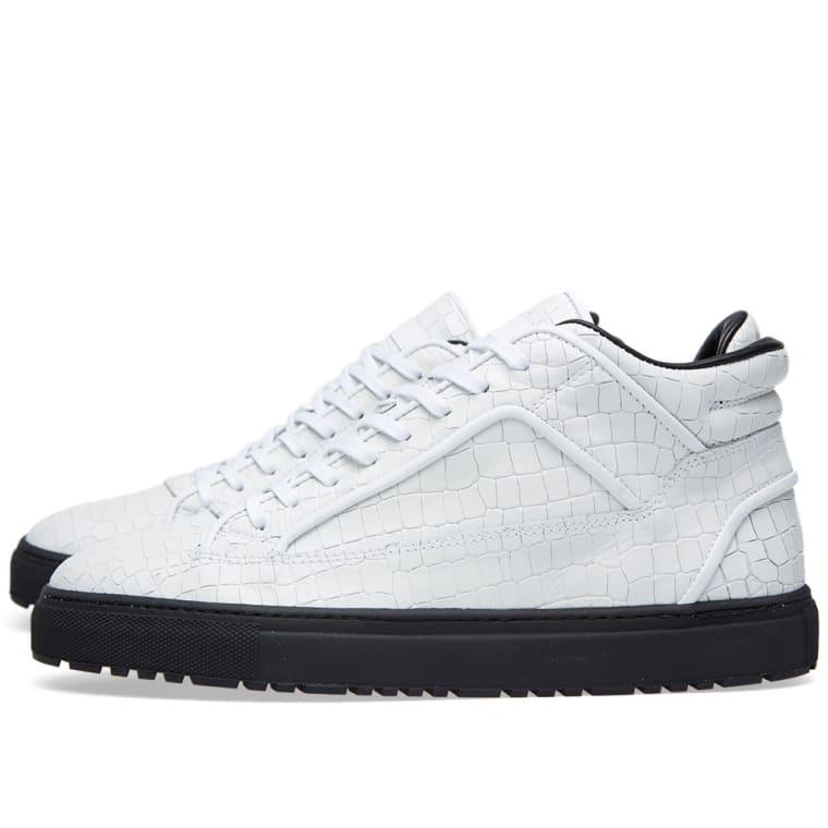 ETQ. Mid Top 2 Sneaker (White Croc Embossed)  b5528a234ba1