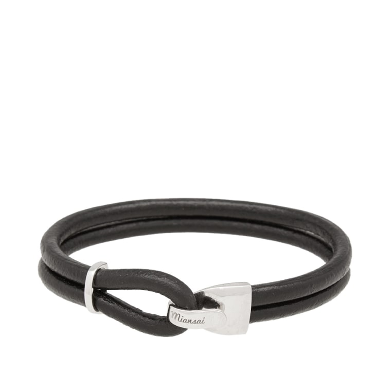 Miansai Beacon Leather Bracelet Silver Black 1