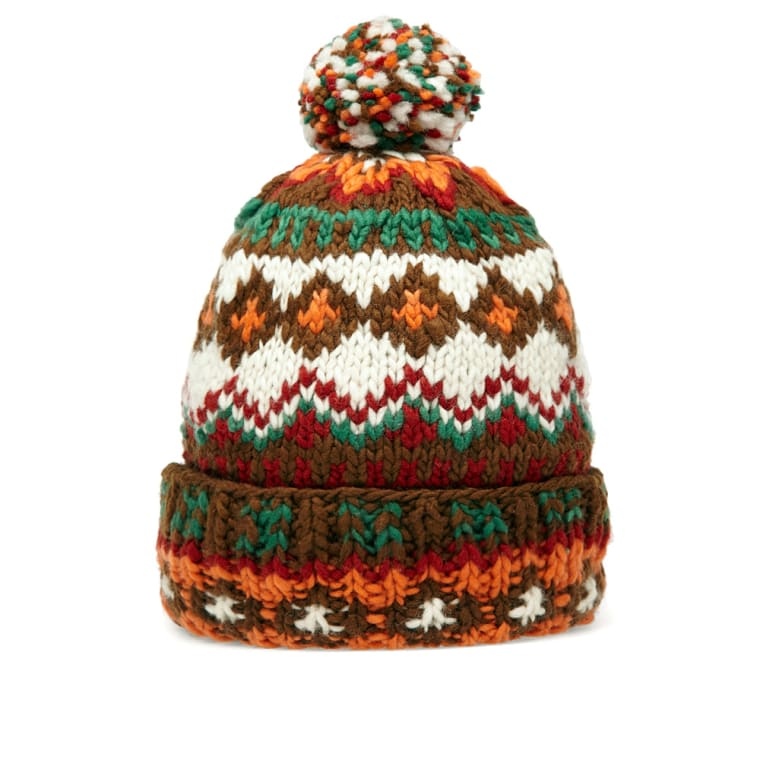 Chamula Double Cuff Fair Isle Beanie (Brown Heather) | END.