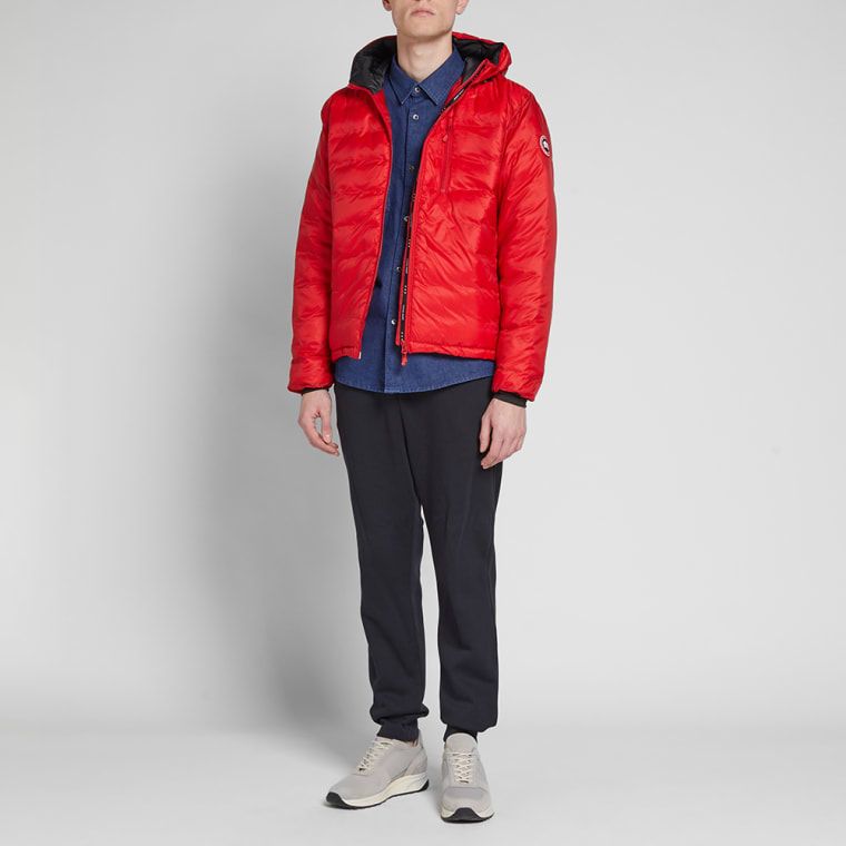 CANADA GOOSE LODGE RED & BLACK HOODED JACKET