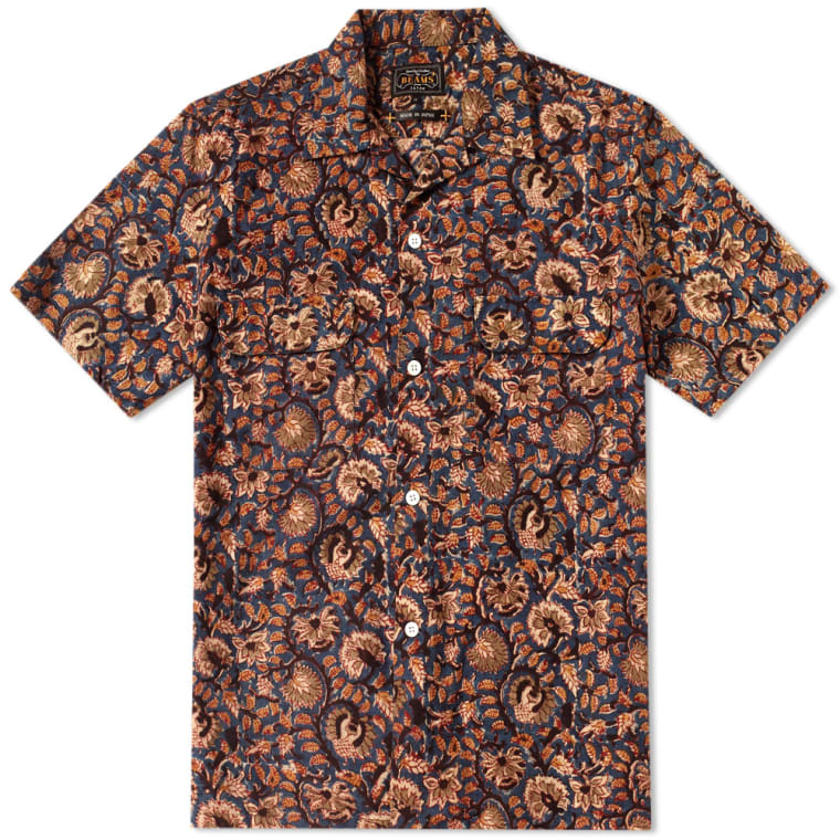 Beams Plus Batik Print Shirt (Navy)