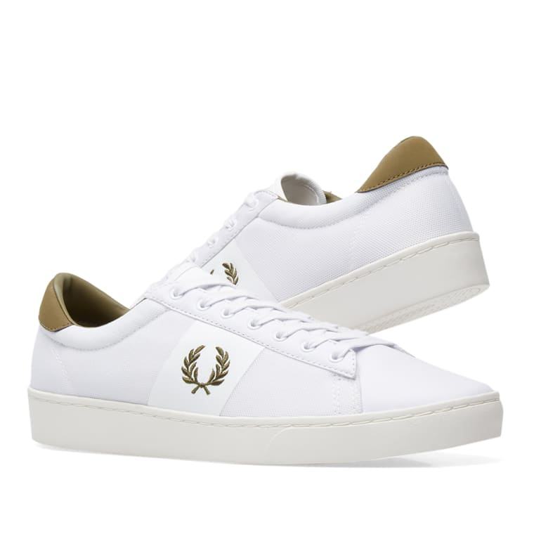 1c3f4fc47f534d Fred Perry Spencer Mesh Leather Sneaker (White   Burnt Olive)