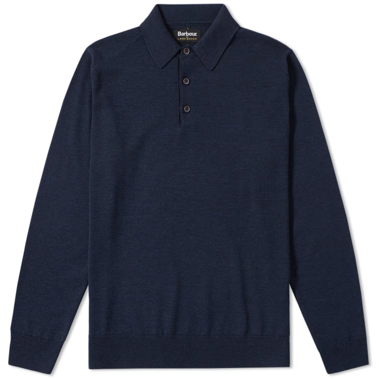 Barbour x Land Rover Long Sleeve Eastnor Polo Navy FLAT 1