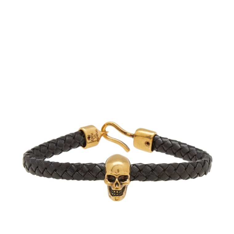 Alexander Mcqueen Skull Leather Bracelet Black Gold 1
