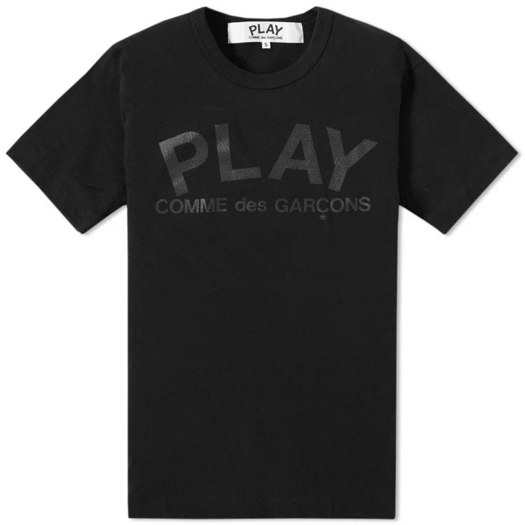 b5a3e838e4af Comme des Garcons Play Text Logo Tee (Black   Black)