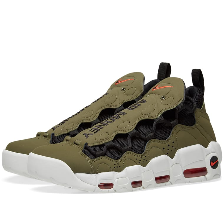 Nike Air More Money Olive, Black, Red  White 1