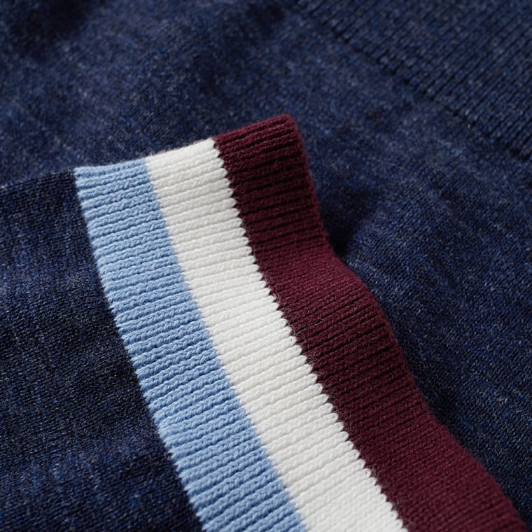 Fred Perry Stripe Cuff Knitted Polo Navy End