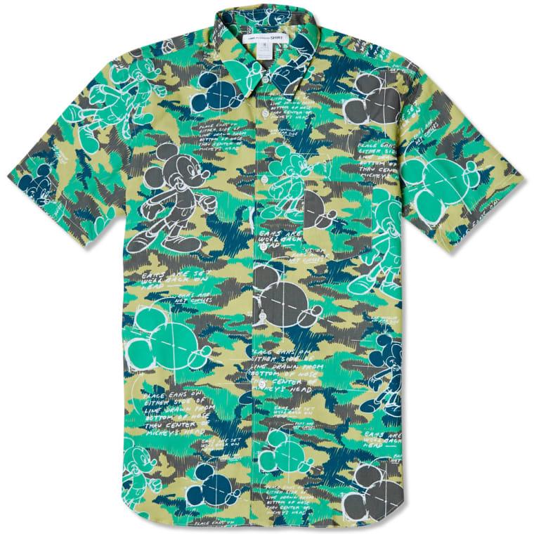 ffc74ce1f95 Comme des Garçons SHIRT Short Sleeve Disney Camo Shirt (Green)
