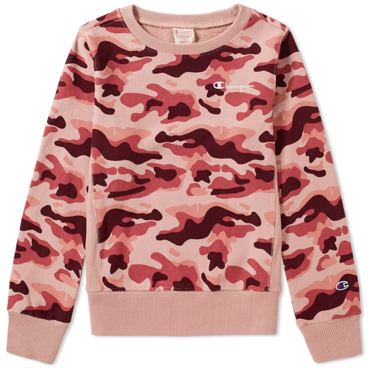 champion reverse weave women 39 s classic camo crew sweat rose end. Black Bedroom Furniture Sets. Home Design Ideas