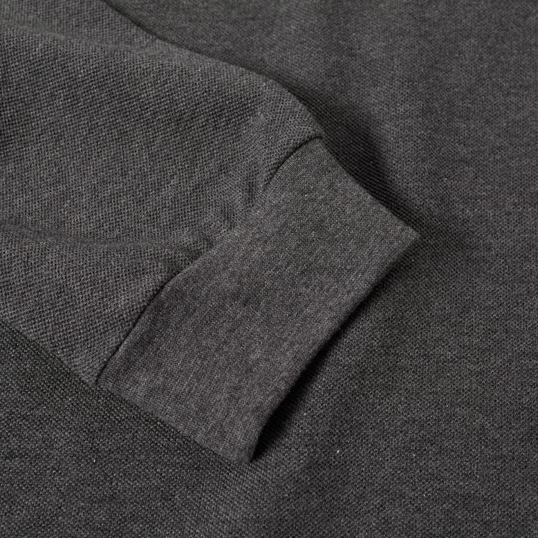 c457b61a770824 Lacoste Long Sleeve Marl Pique Polo (Dark Grey Marl)