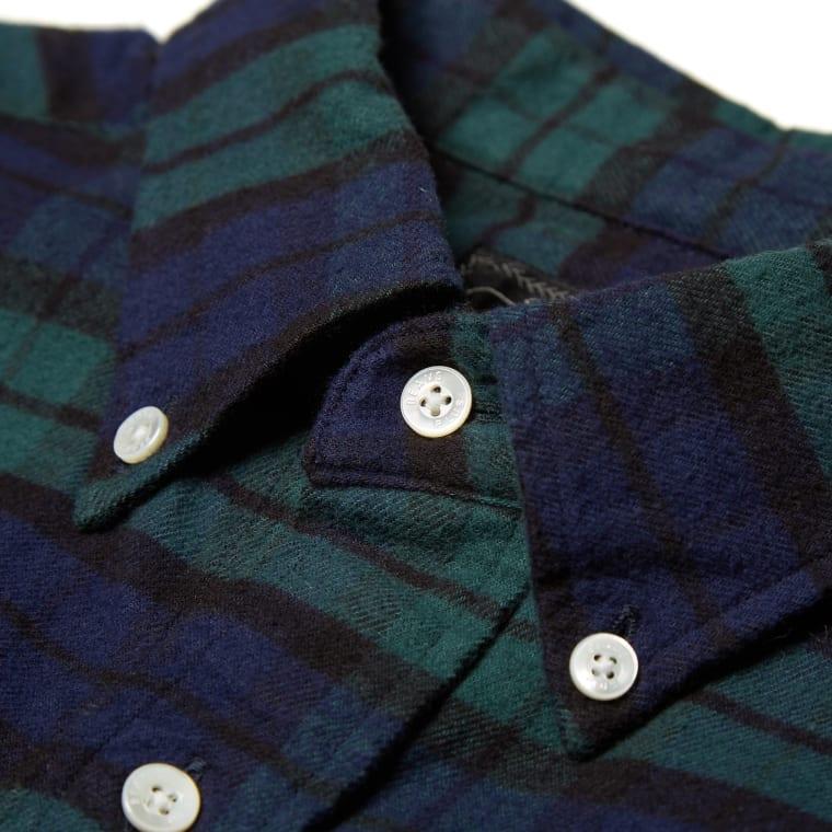 Beams plus button down flannel shirt black watch end for Black watch flannel shirt