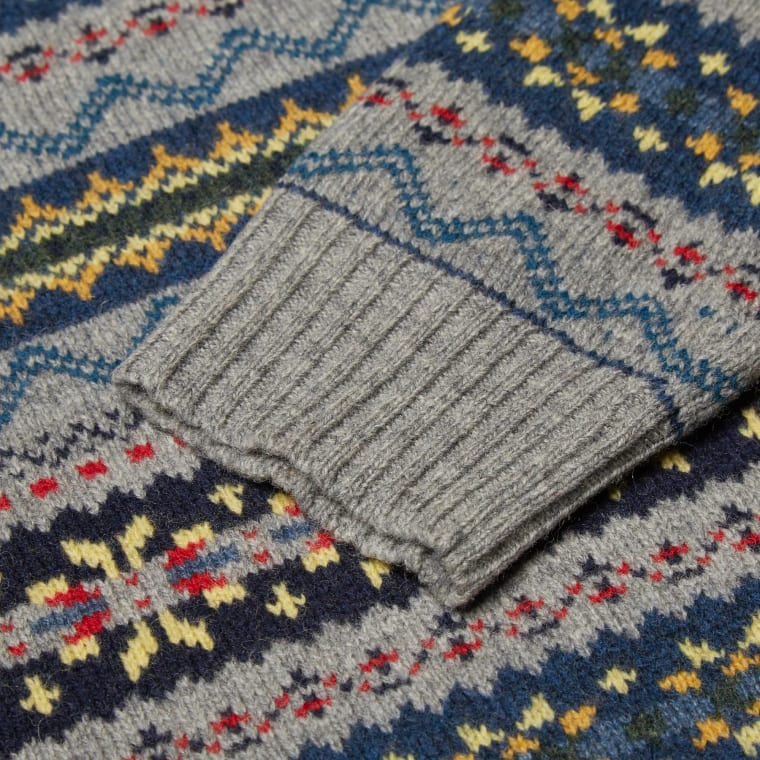 Beams Plus Fair Isle Crew Knit (Grey) | END.