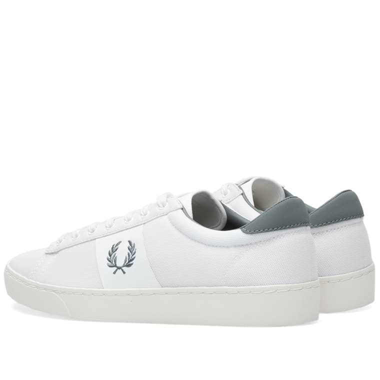fb485350a06c59 Fred Perry Spencer Mesh Leather Sneaker (White   Airforce)