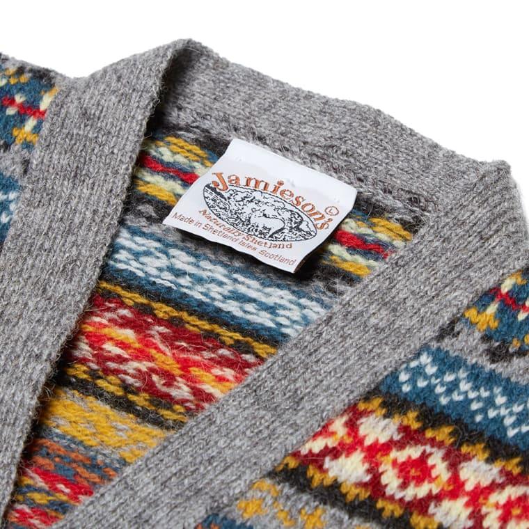 Jamieson's of Shetland Jacquard Fair Isle Vest (Grey & Multi) | END.