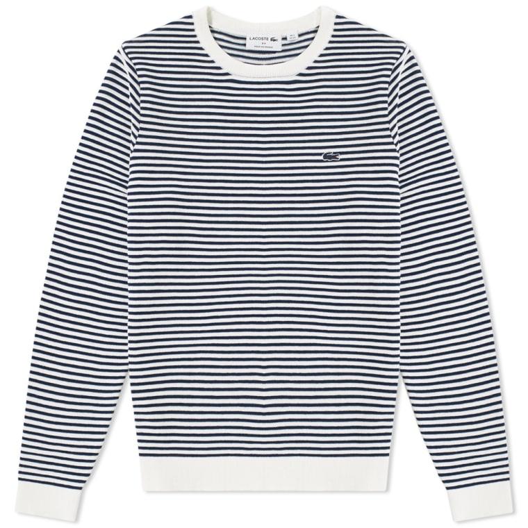84e8749353 Lacoste Ottoman Stripe Crew Knit (White   Navy)