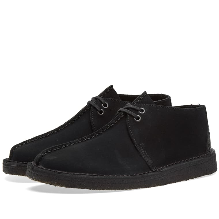 Desert Trek Shoes In Black Suede - Black Clarks