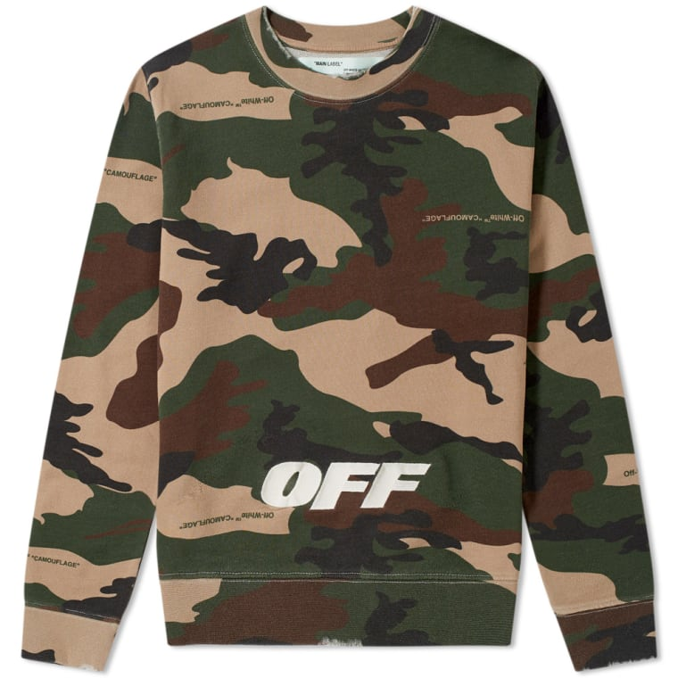 Off White Camo Crew Sweat All Over Green End