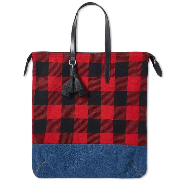 Dries Van Noten Plaid Tote Bag Red 1