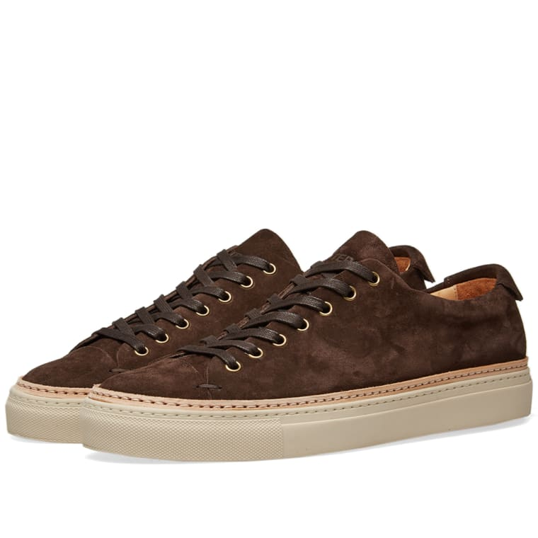 BUTTERO TANINO LOW SUEDE WELT SNEAKERS in T. MORO