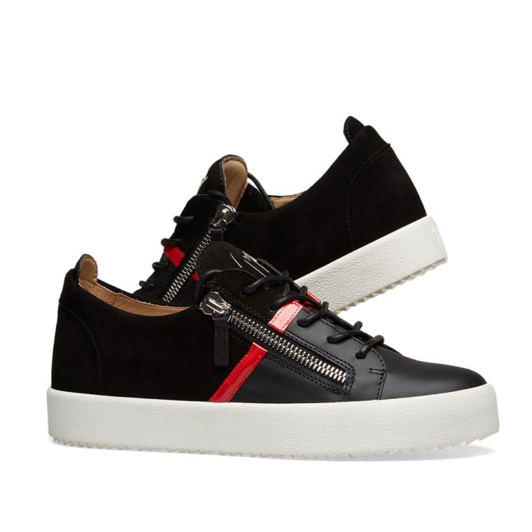 a2aa61e974f6 Giuseppe Zanotti Double Zip Leather Band Sneaker (Black   Red)
