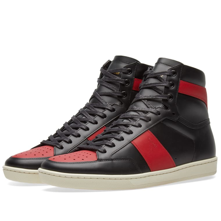 Saint Laurent Black & Red SL/10 High-Top Sneakers