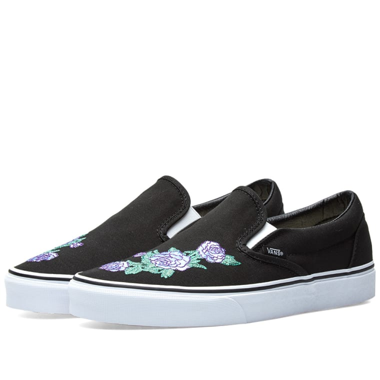 a096a3a37a6 Vans Classic Slip On Rose Thorns (Lilac   True White)